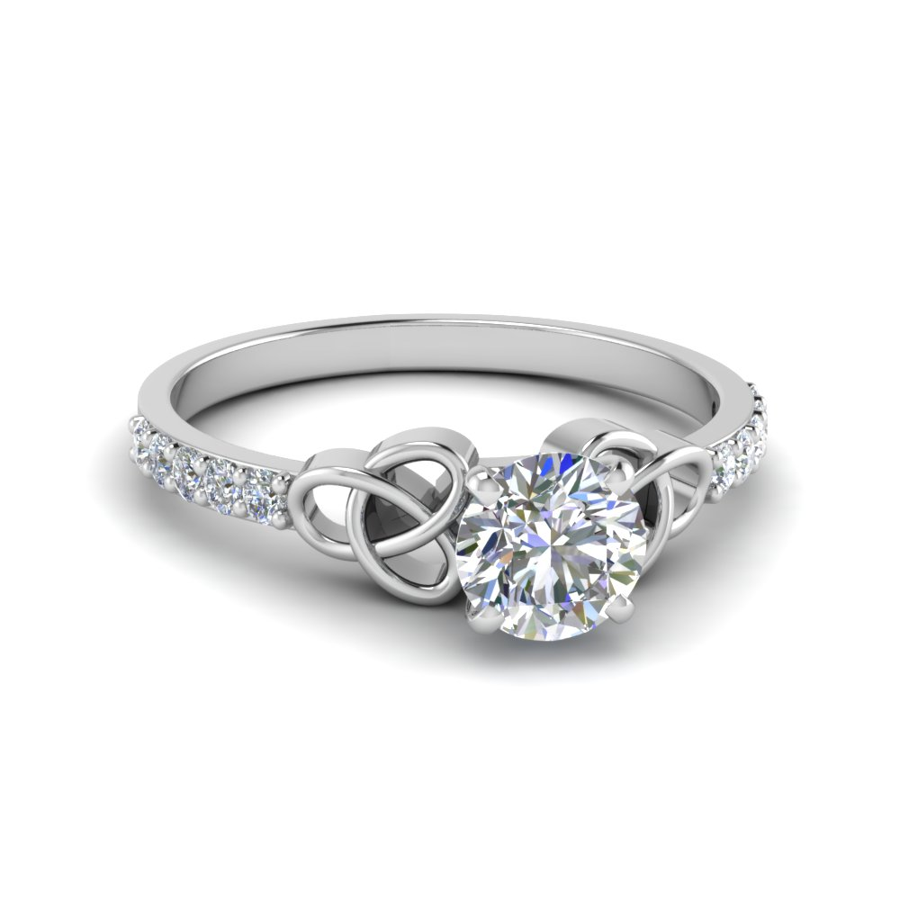 Thin Celtic Round Diamond Ring
