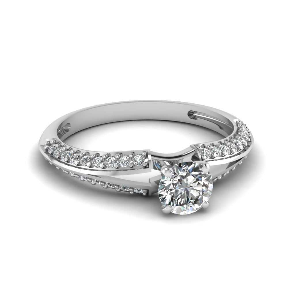 Reverse Split Shank Round Stone Engagement Ring