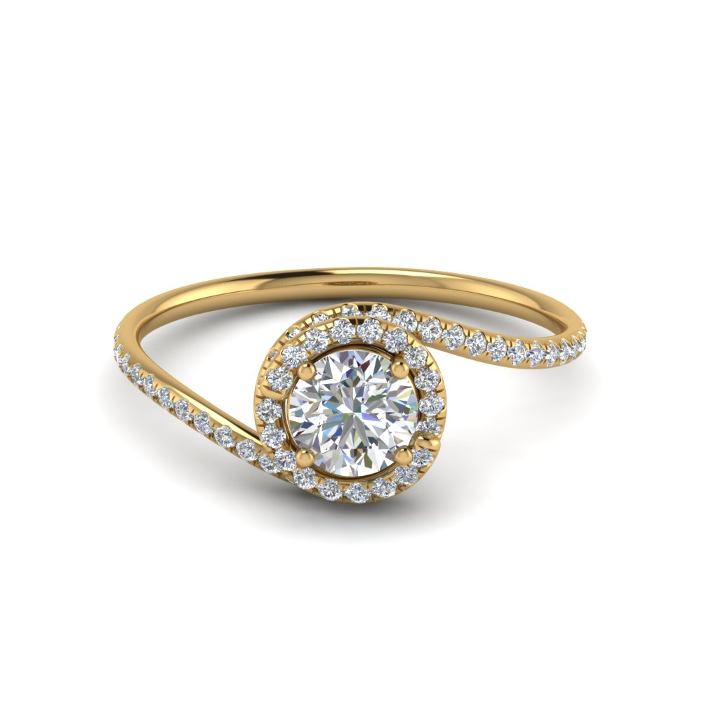 Round Cut Petite Swirl Halo Diamond Engagement Ring In 14K Yellow