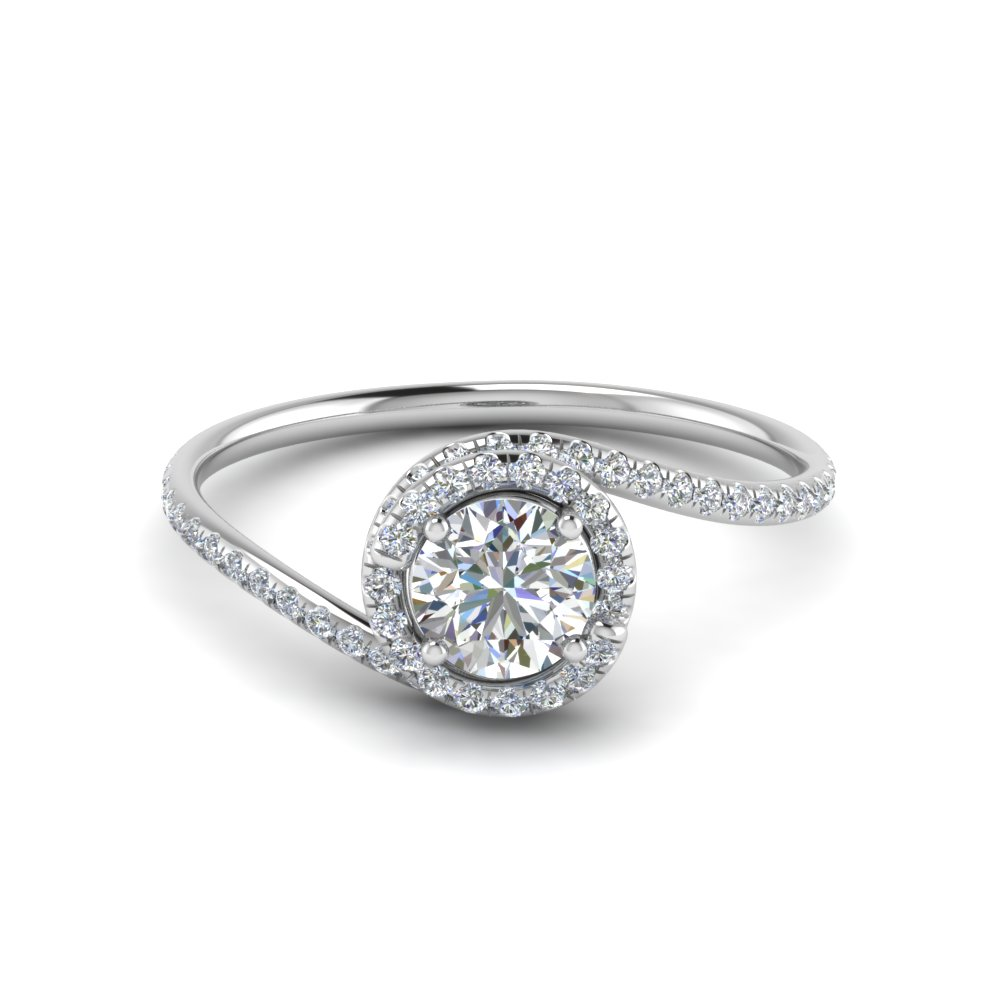 round cut petite swirl halo diamond engagement ring in FDENS1295ROR NL WG