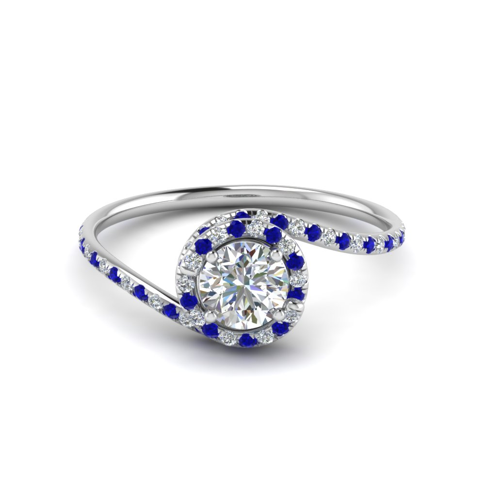Swirl Sapphire Halo Engagement Ring For Female