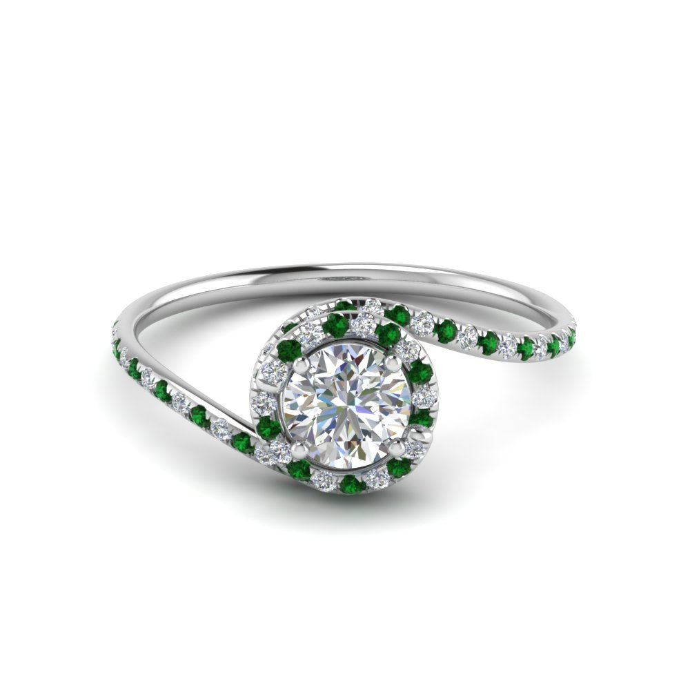 Halo Emerald Engagement Ring Platinum