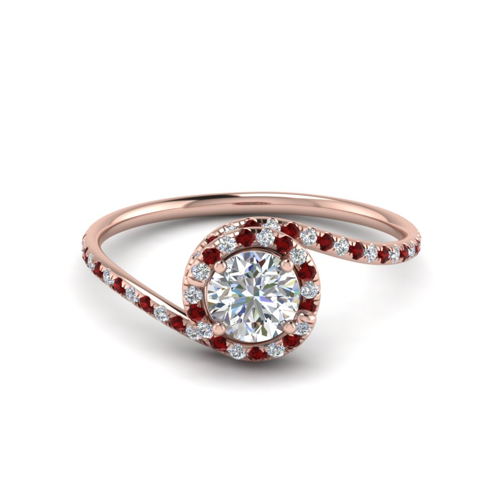 Simple Thin Band Halo Ruby Engagement Ring