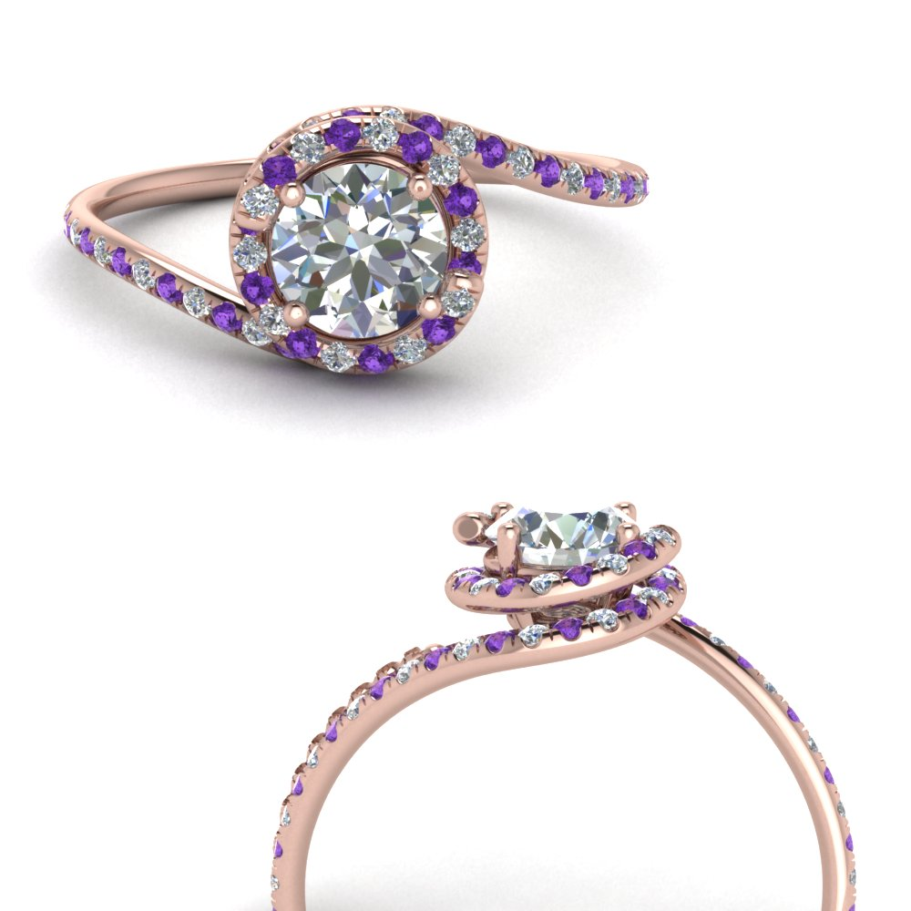 petite swirl halo diamond engagement ring with purple topaz in FDENS1295RORGVITOANGLE3 NL RG.jpg