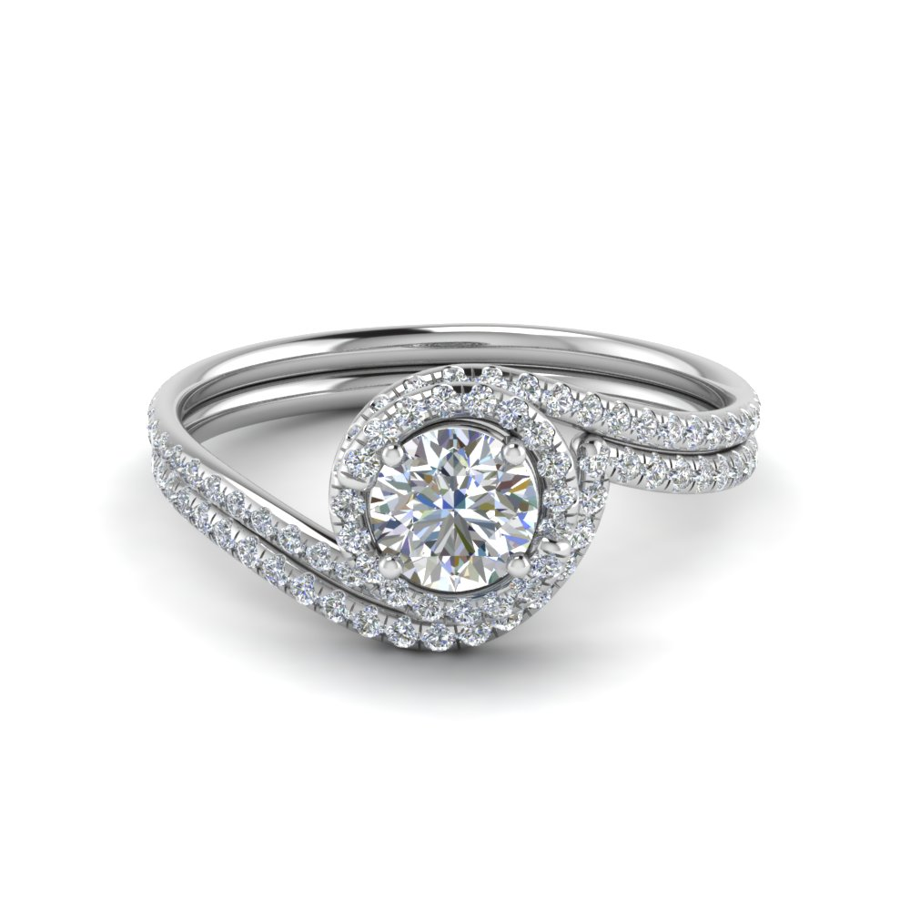 round cut diamond wedding ring sets with white diamond in 14k white gold - Engagement And Wedding Ring Sets