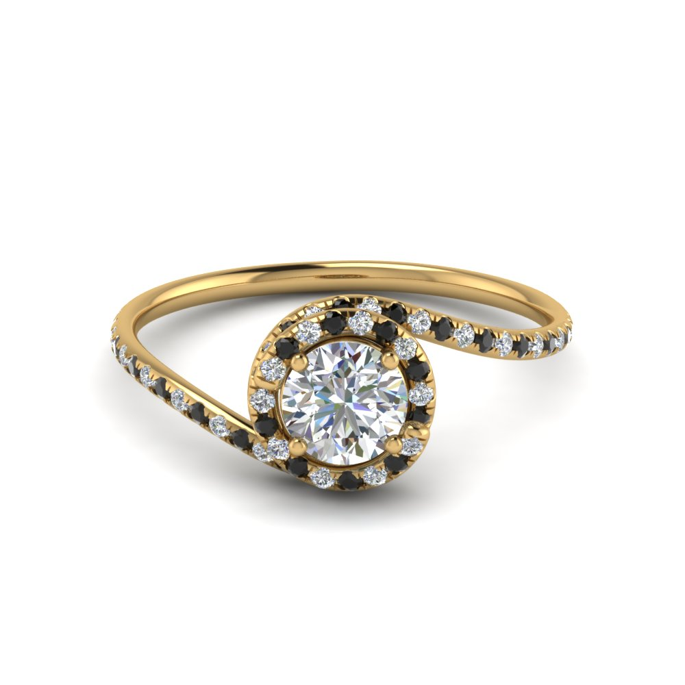 Black Diamond Halo Diamond Ring Thin Band