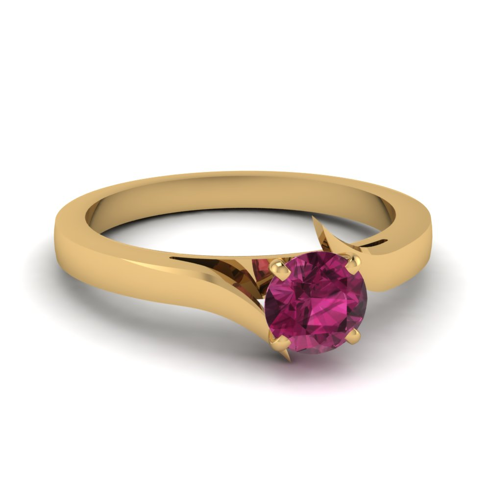 Round Cut Pink Sapphire Solitaire Diamond And Colored Engagement Ring For Women In 14K Yellow Gold