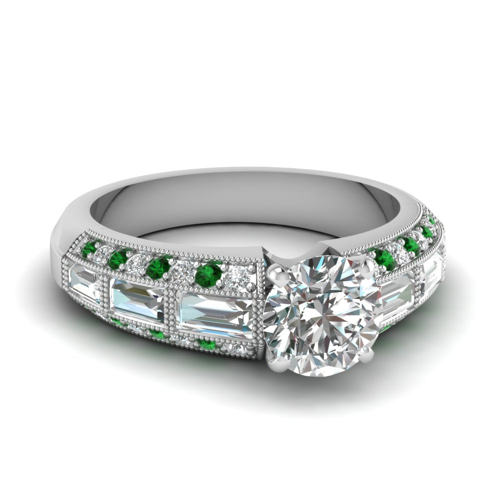 edwardian round diamond vintage engagement ring with emerald in FD62254RORGEMGR NL WG
