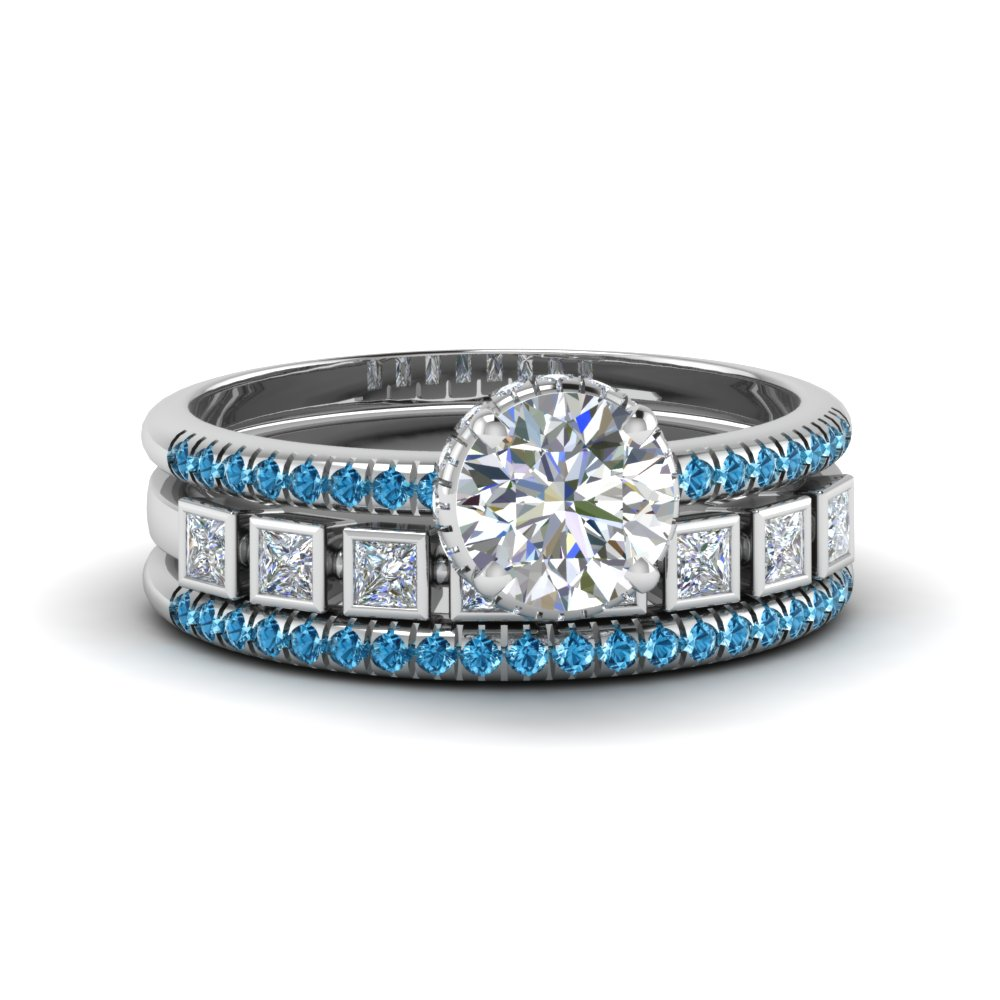Platinum Blue Topaz Bezel Trio Set