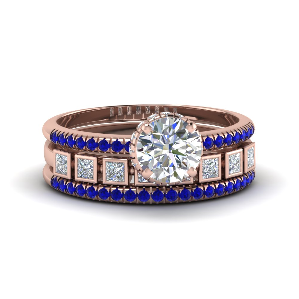 round cut prong and bezel set diamond trio wedding ring sets for women with blue sapphire in 14K rose gold FD8085TROGSABL NL RG