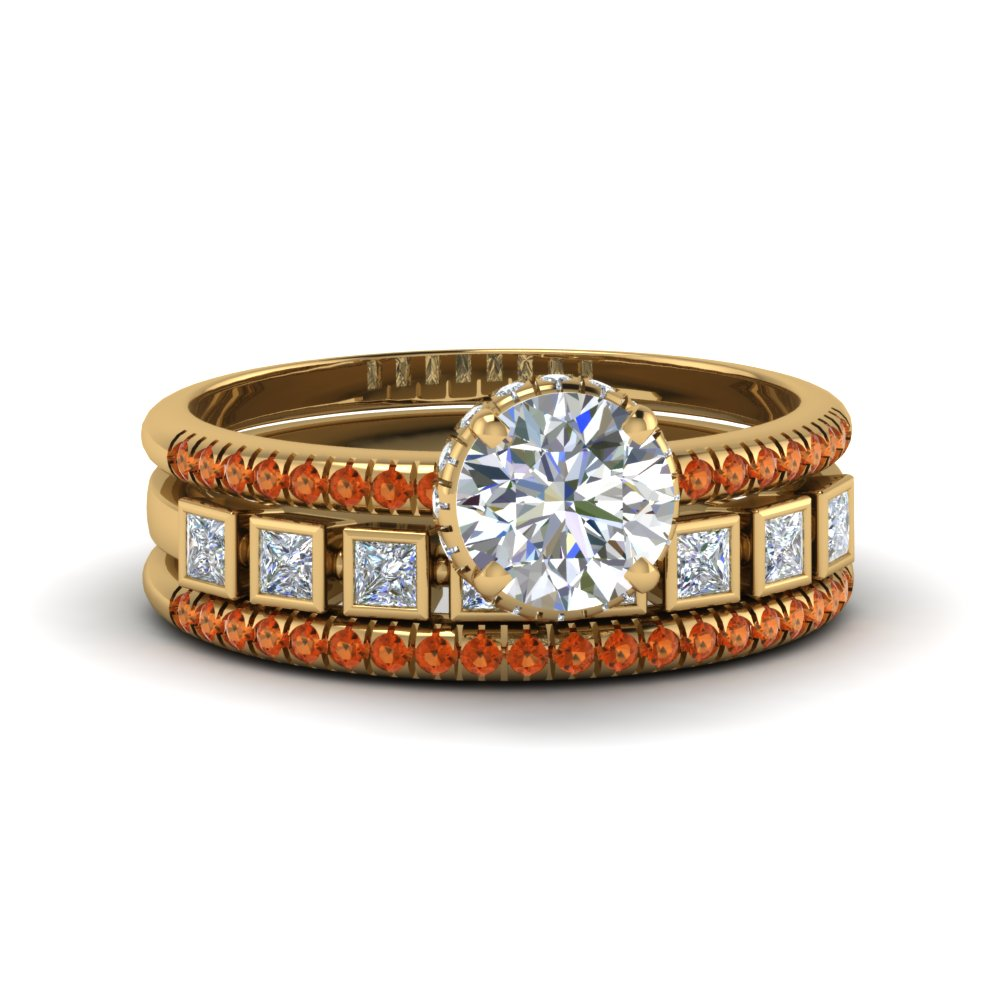 Bezel Orange Sapphire Yellow Gold Trio Wedding Ring Set