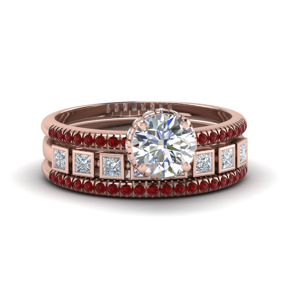 Bezel Accent Ruby Trio Bridal Set