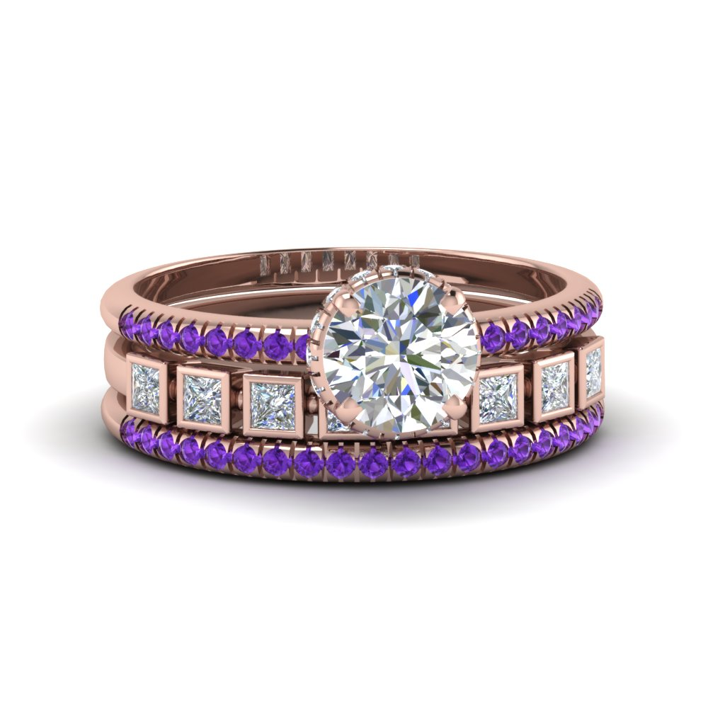 Purple Topaz Bezel Trio Ring Set