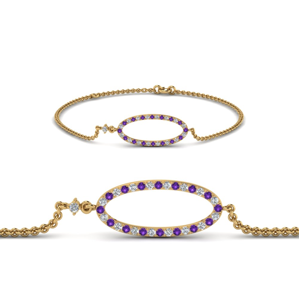 Purple Topaz Oval Diamond Bracelet