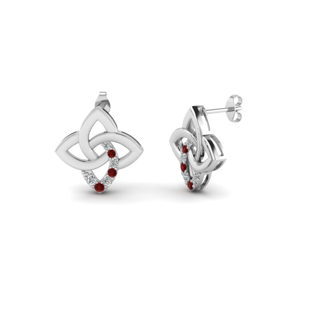 Celtic Knot Stud Diamond Earring With Ruby In Fdear651781grudr Nl Wg
