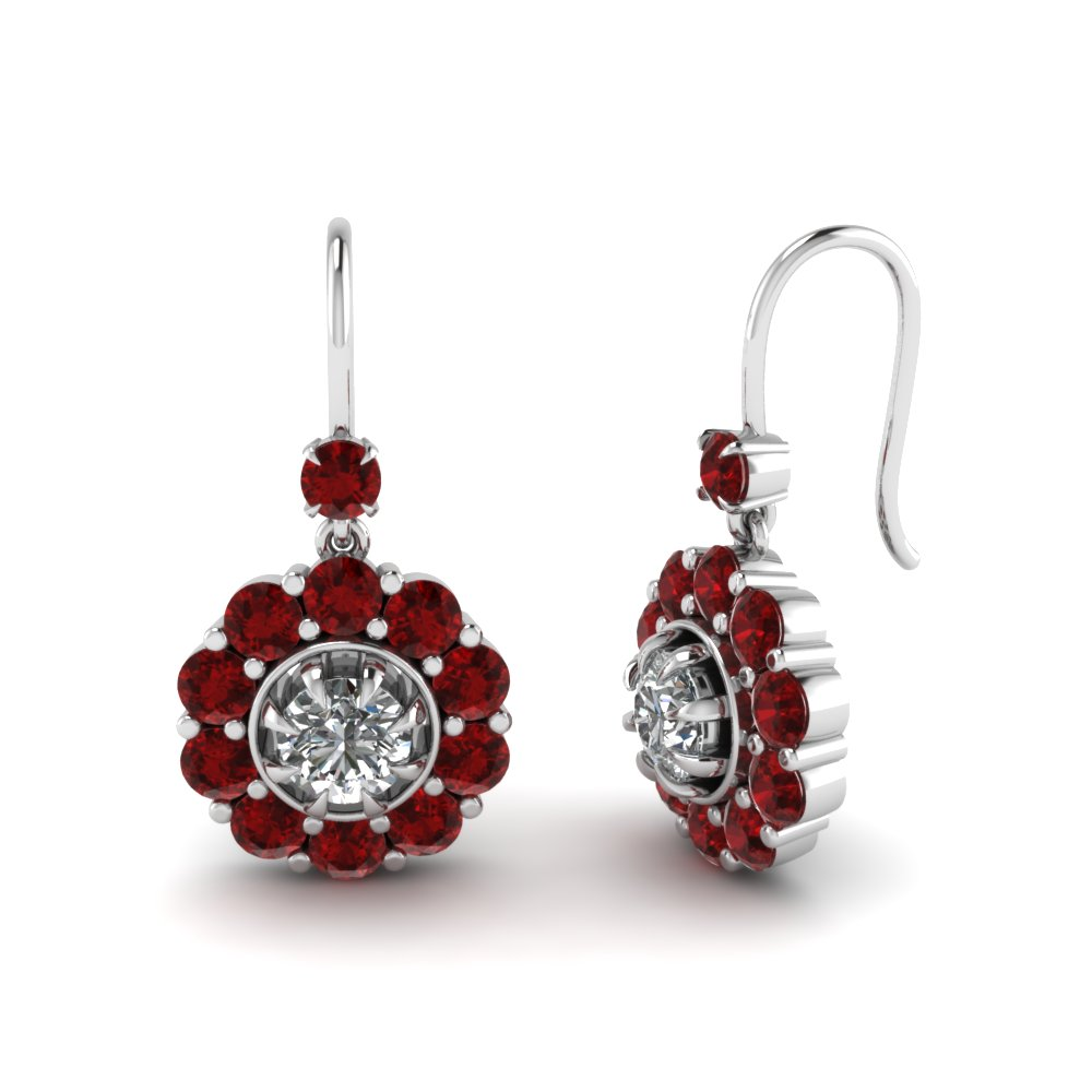 Floral Ruby Drop Earring