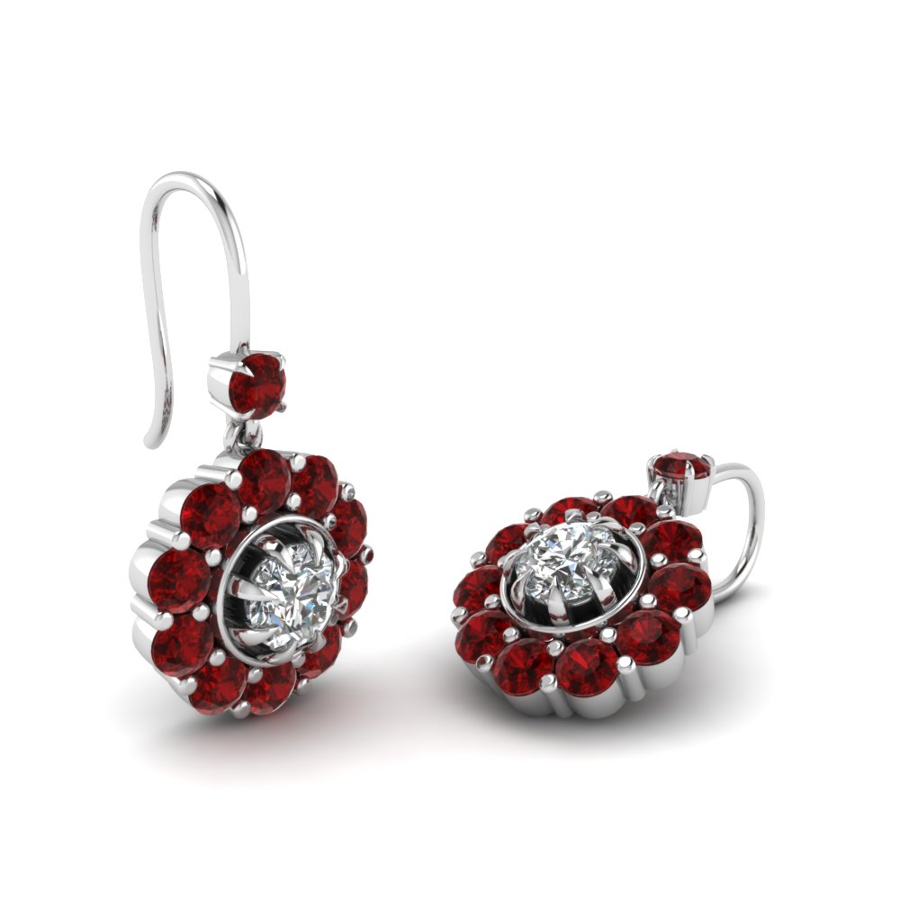 genuine ruby earrings red blood