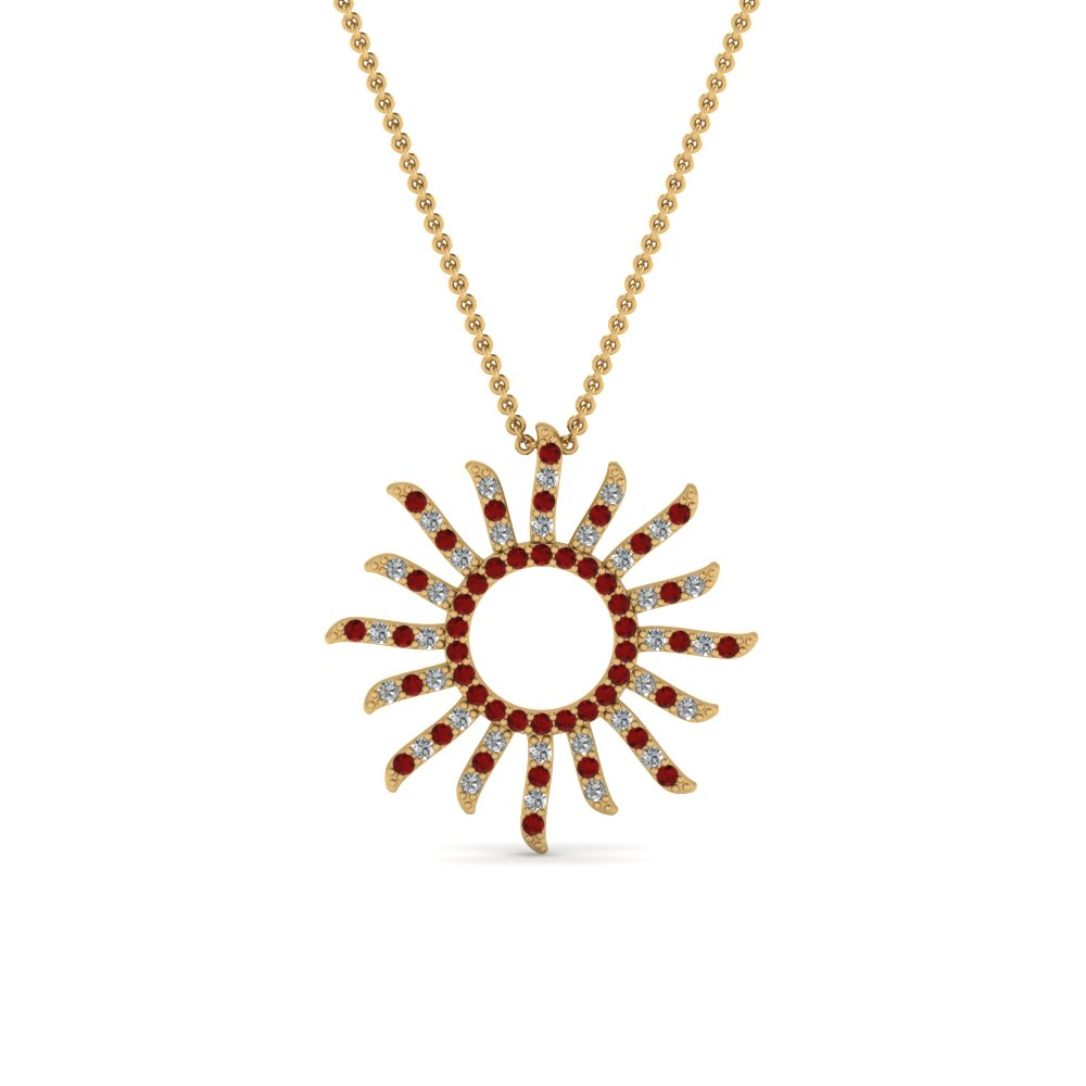 round-cut-red-ruby-fancy-pendant-in-14K-yellow-gold-FDPD67120GRUDR-NL-YG