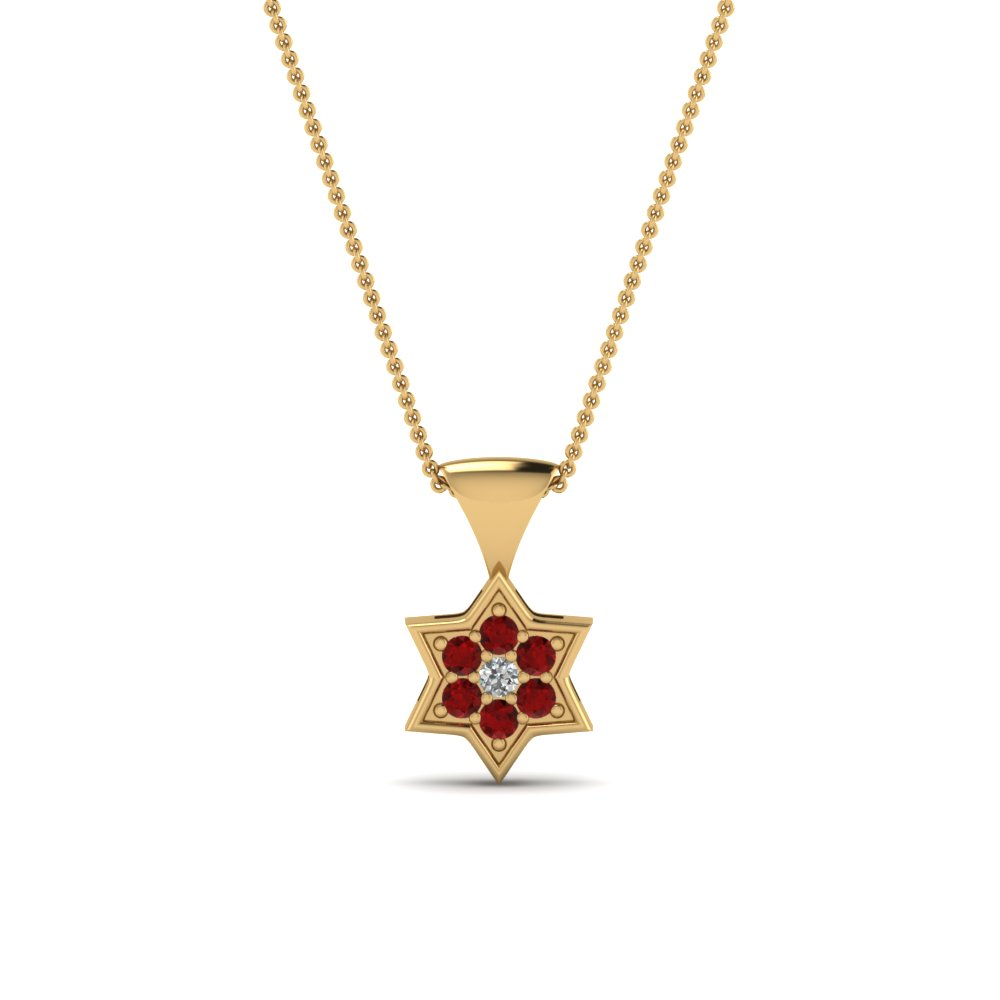 Star Ruby Yellow Gold Pendant