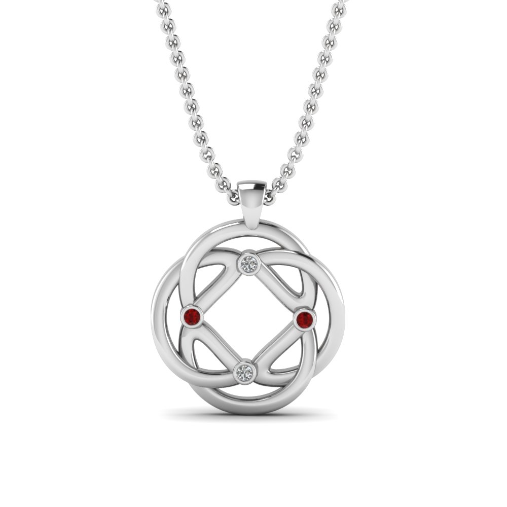intricate design diamond pendant with ruby in FDPD3060GRUDR NL WG