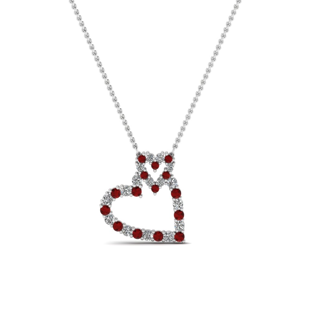 Round Cut Red Ruby Heart Pendant