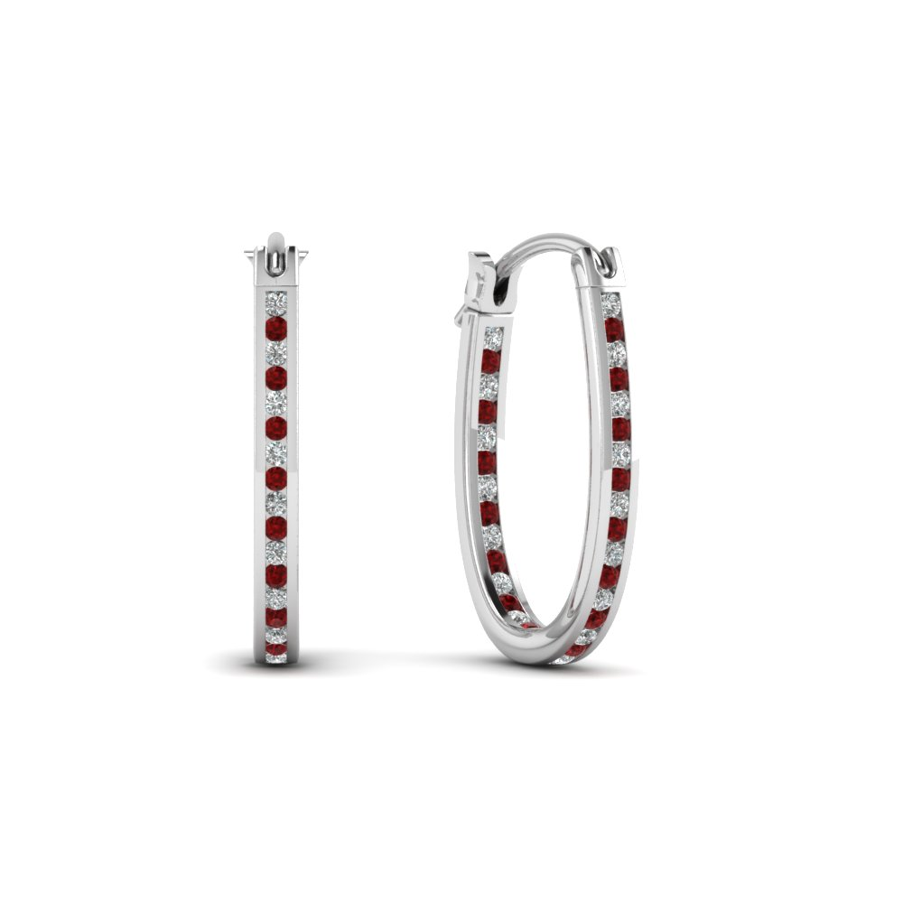 Round Cut Red Ruby Hoops Earrings With White