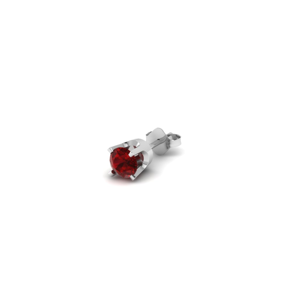 Round Cut Red Ruby Mens Earrings In 18k White Gold Fdms4rogrudr20ct Nl Wg