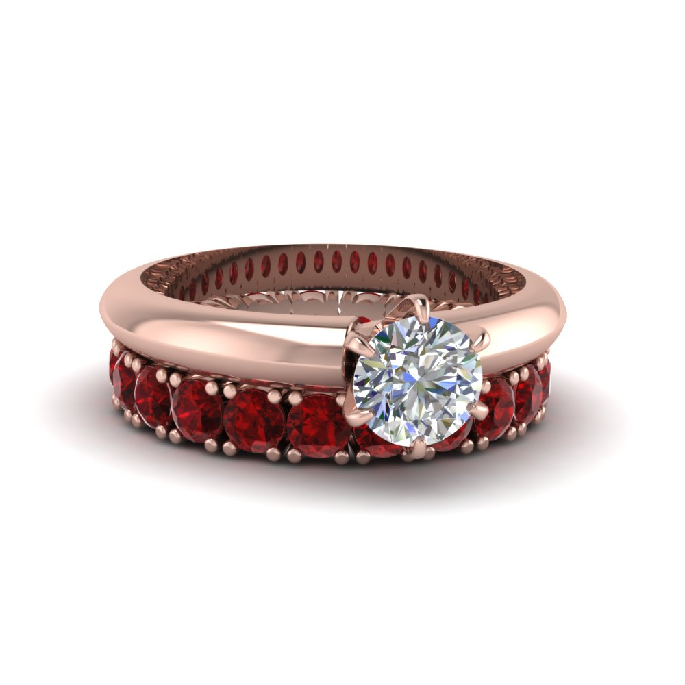 round cut red ruby solitaire engagement ring with eternity band in FD8038ROGRUDR NL RG