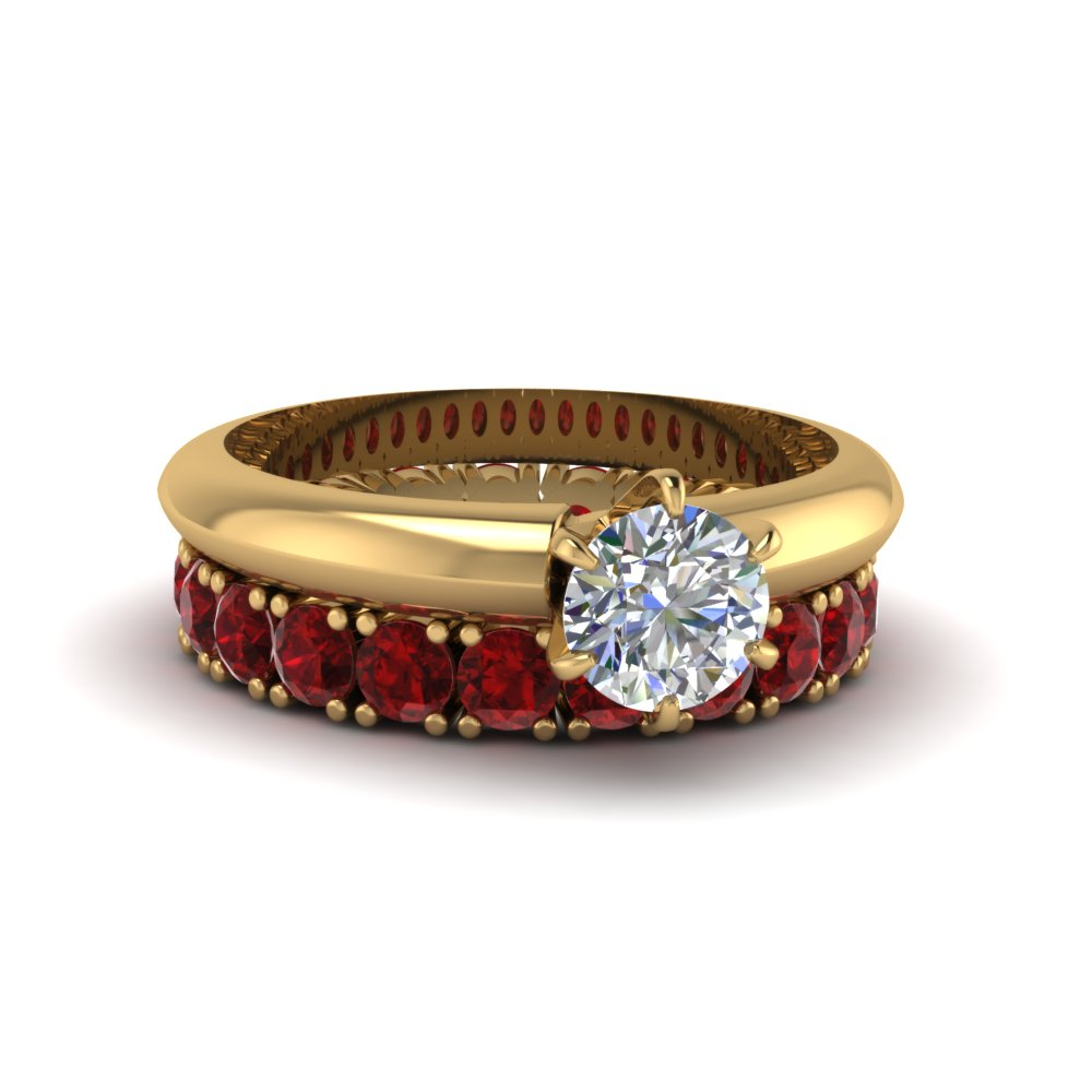 Solitaire Engagement Ring With ruby Eternity Band in 14K yellow gold FD8038ROGRUDR NL YG