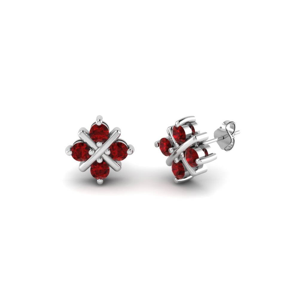 Criss Cross Ruby Stud Earring