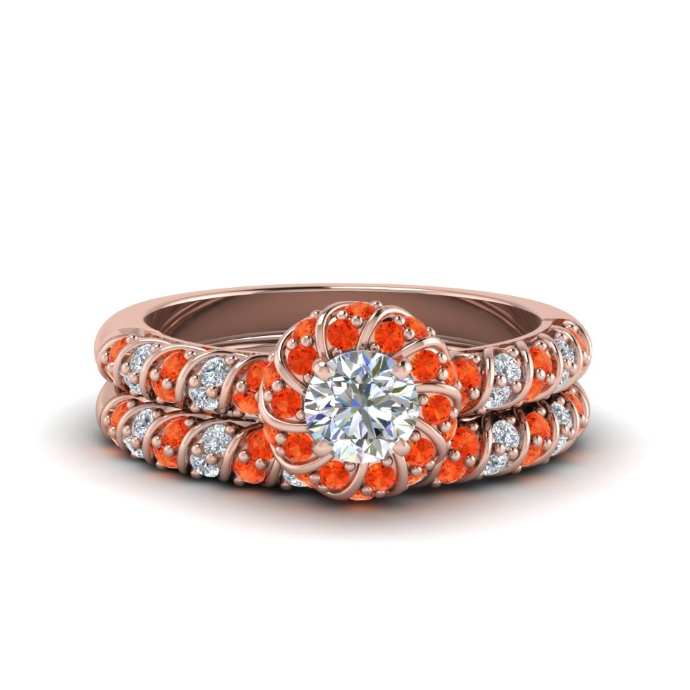 rope twisted halo diamond wedding ring set with orange topaz in FDENS3185ROGPOTO NL RG