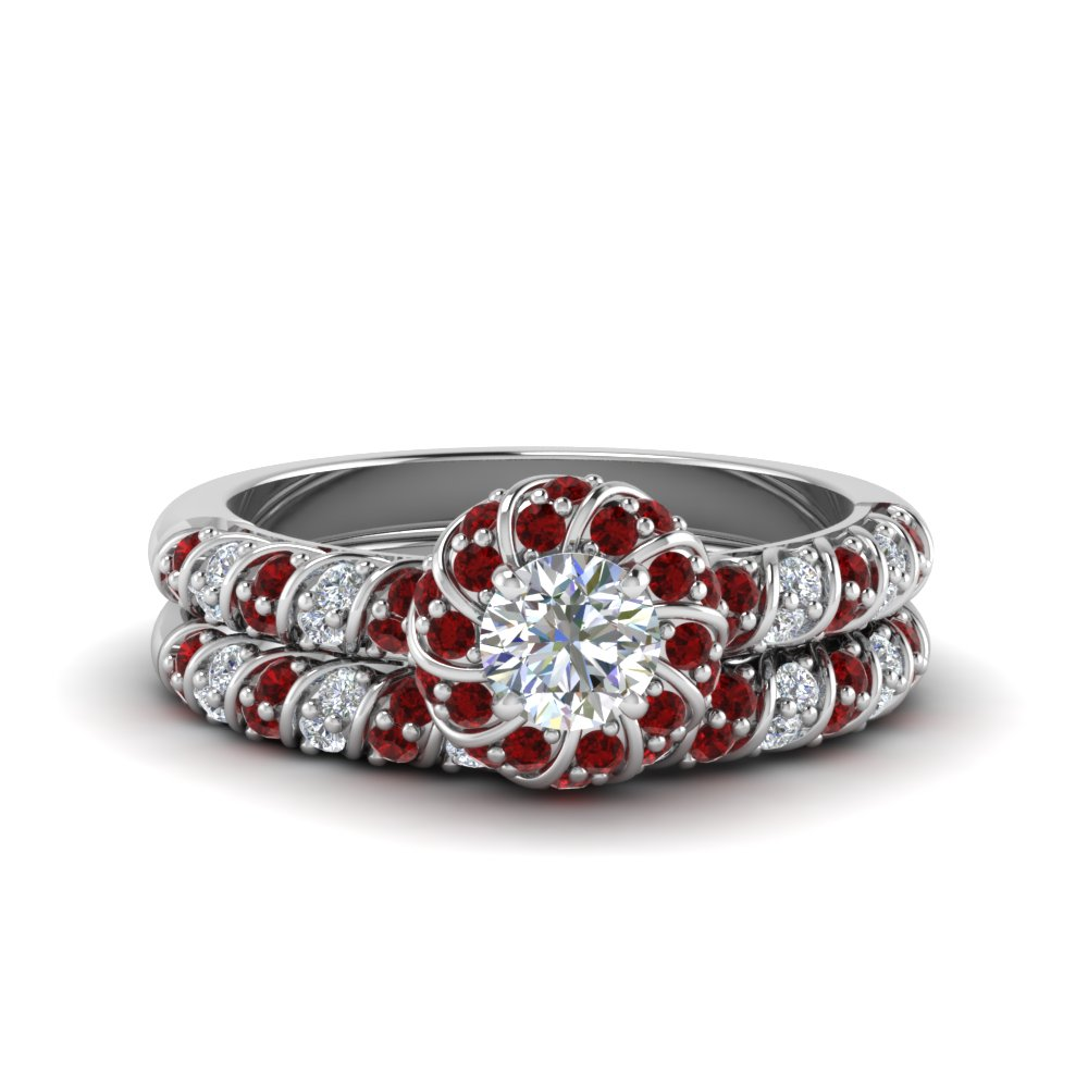 rope twisted halo diamond wedding ring set with ruby in FDENS3185ROGRUDR NL WG