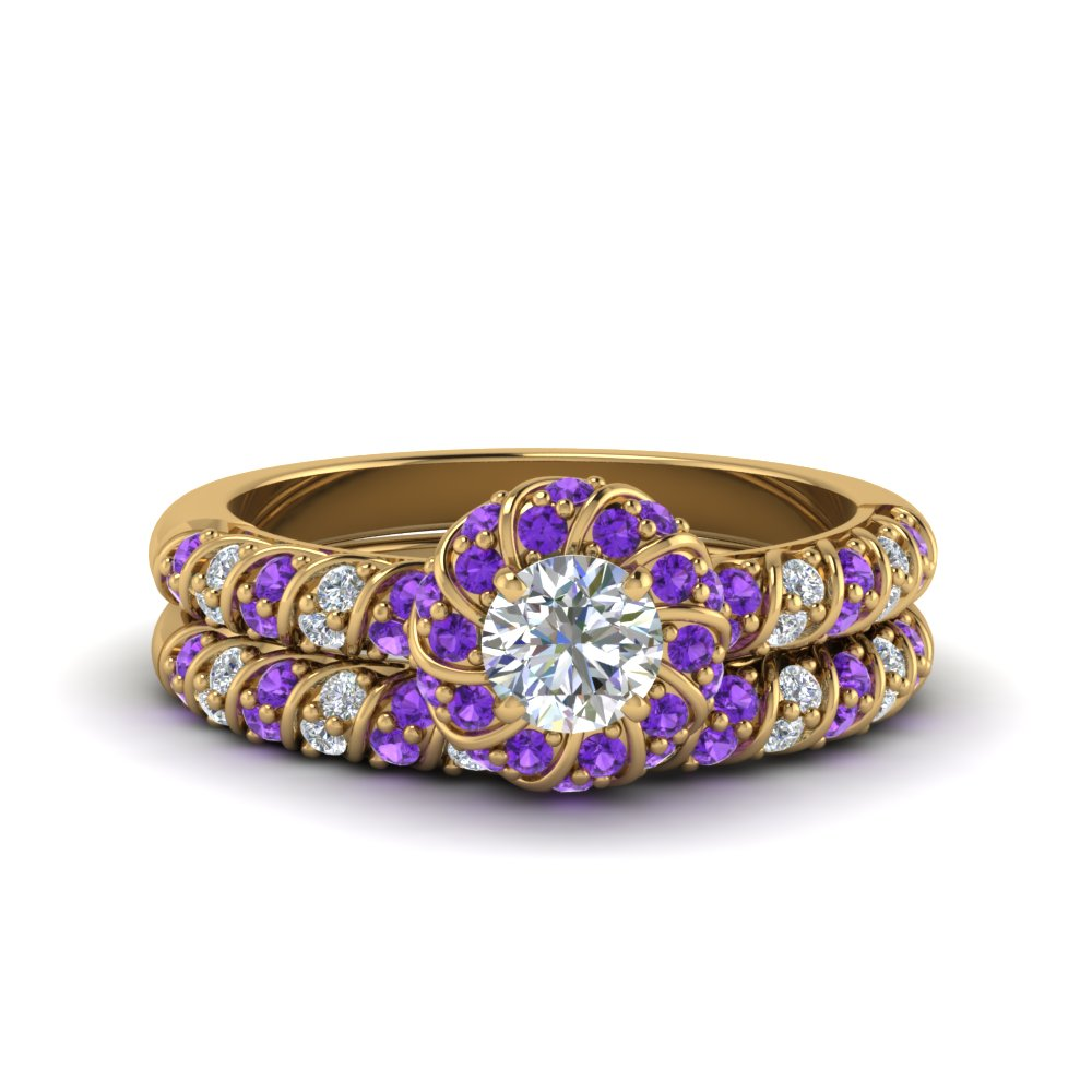 rope twisted halo diamond wedding ring set with purple topaz in FDENS3185ROGVITO NL YG