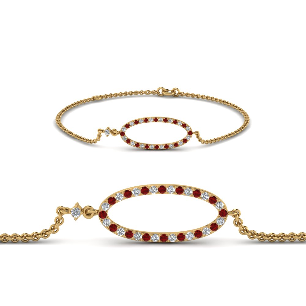Ruby Oval Diamond Link Bracelet