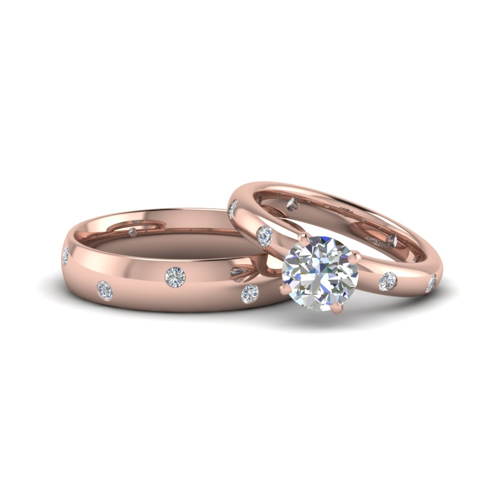 Pink Gold Round Diamond Rings For Couple