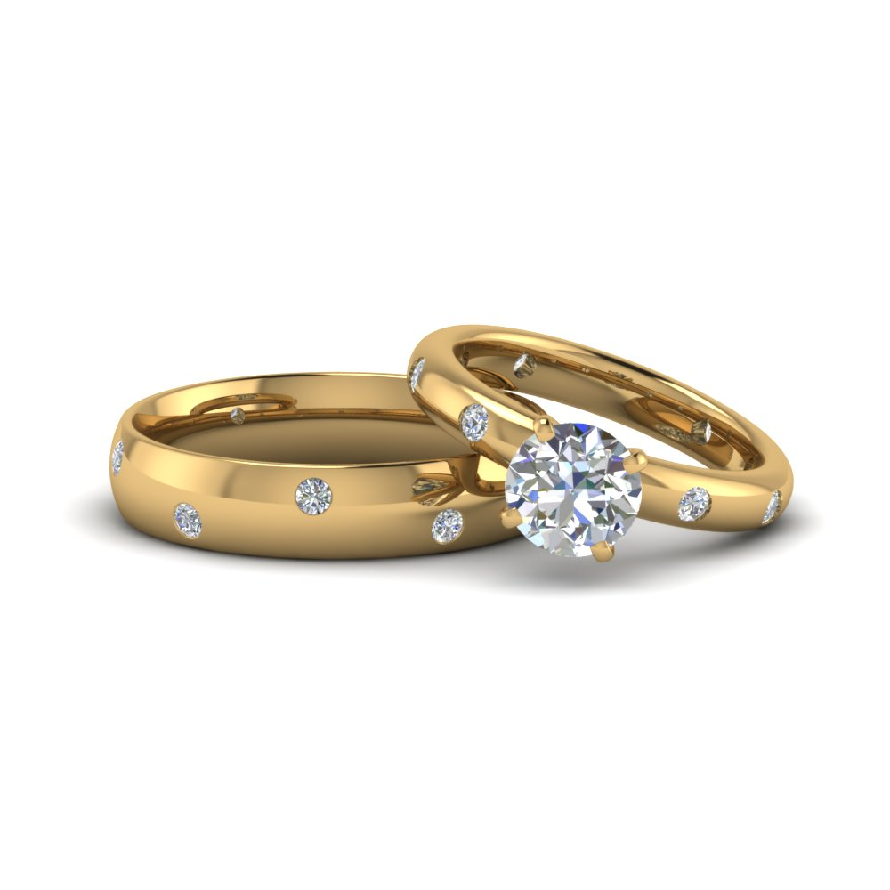 round cut shaped couple wedding rings his and hers matching anniversary sets gifts in 14K yellow gold FD8158B NL YG