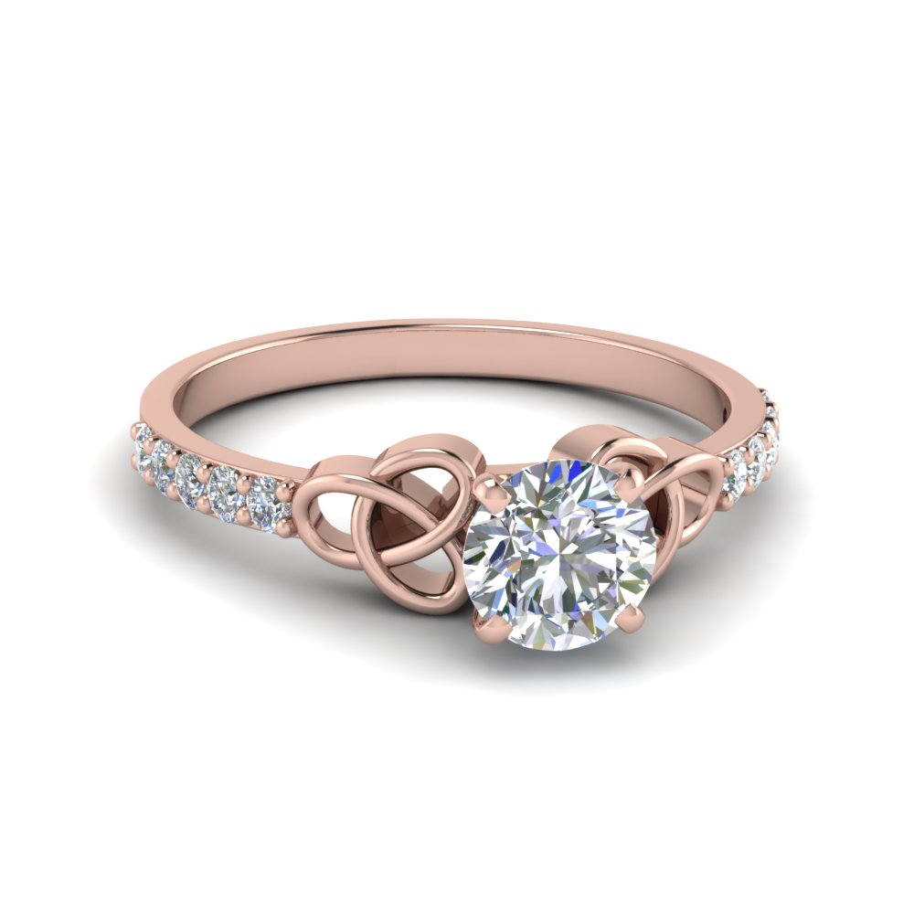simple celtic handmade diamond engagement ring in 14k rose