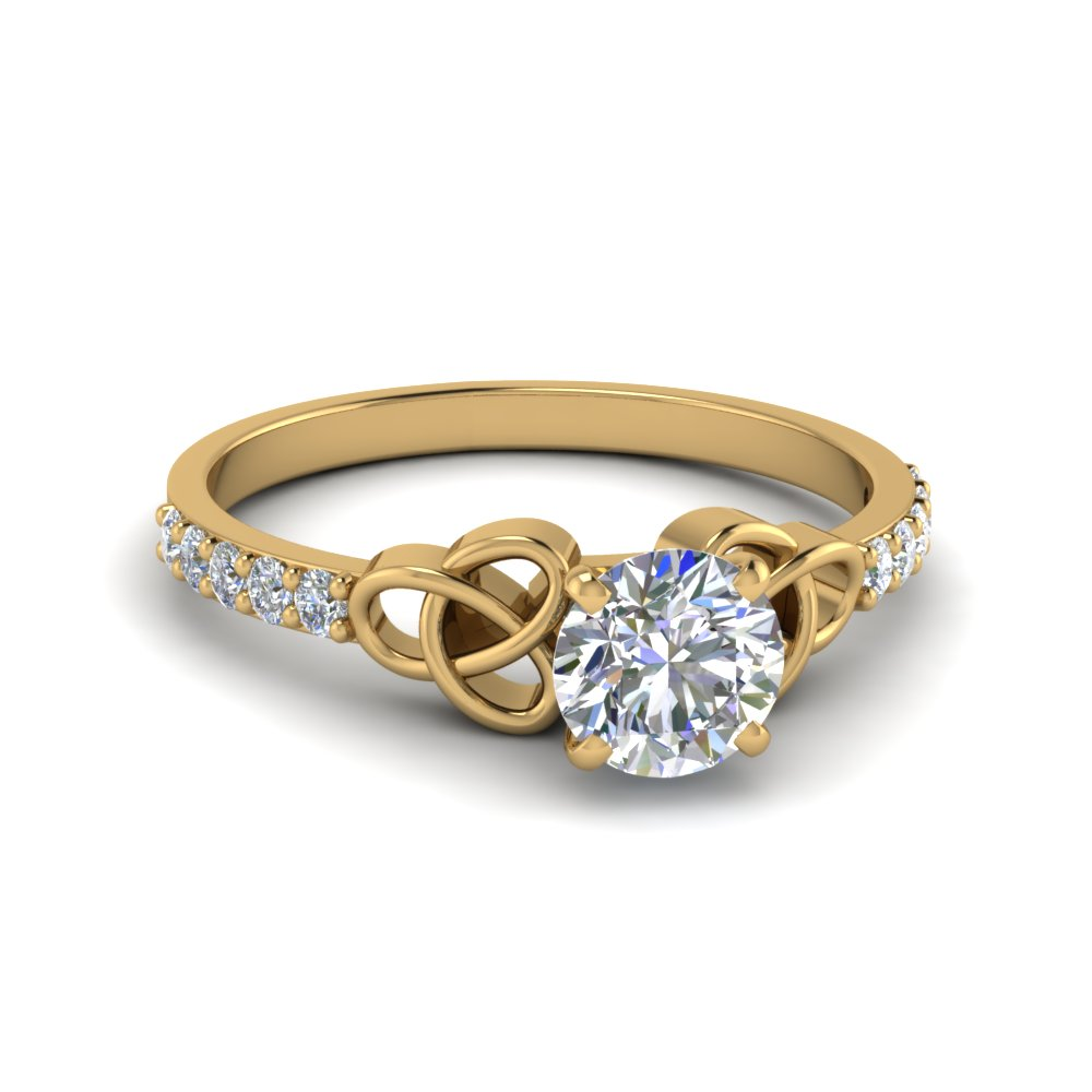 Simple Celtic Handmade Diamond Engagement Ring In 14K Yellow Gold