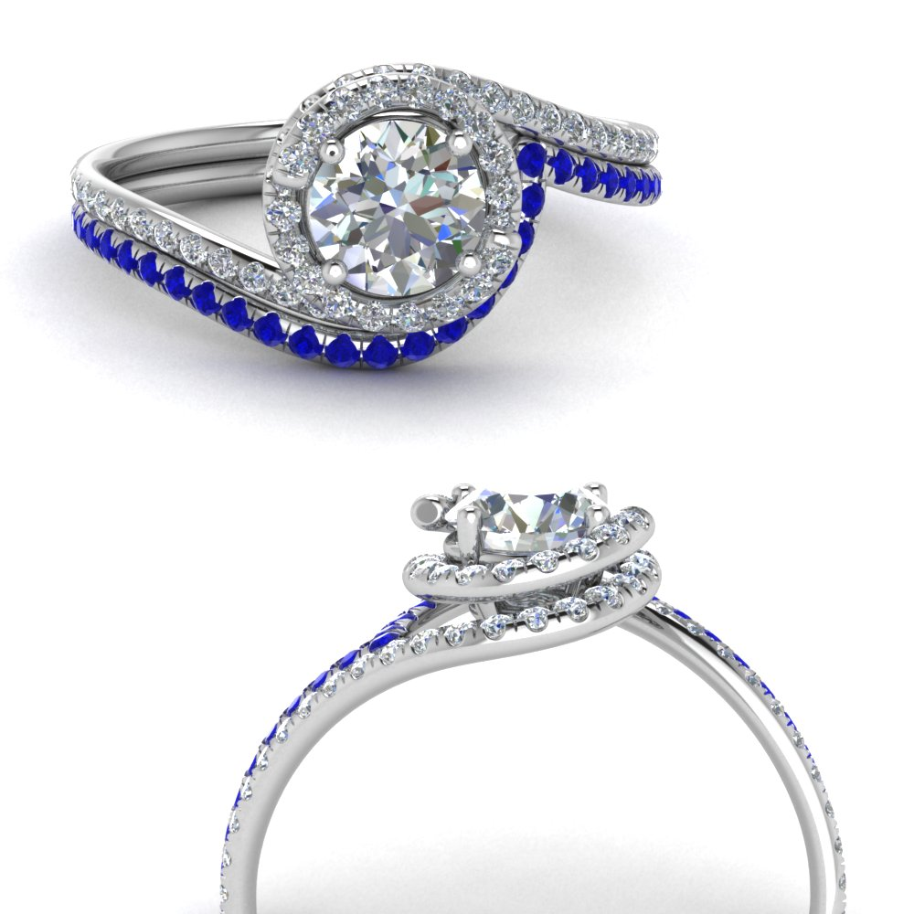 simple diamond halo swirl bridal set with sapphire in FDENS1295ROGSABLANGLE3 NL WG GS.jpg