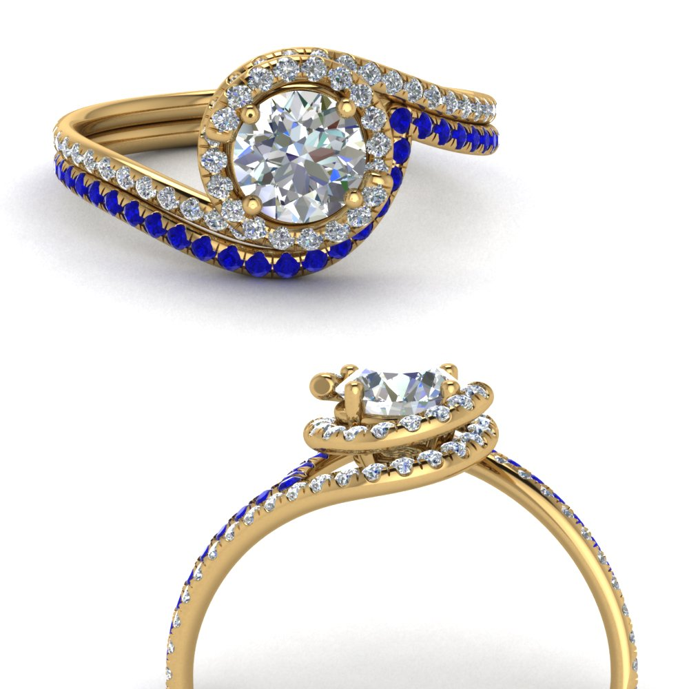 simple diamond halo swirl bridal set with sapphire in FDENS1295ROGSABLANGLE3 NL YG GS.jpg