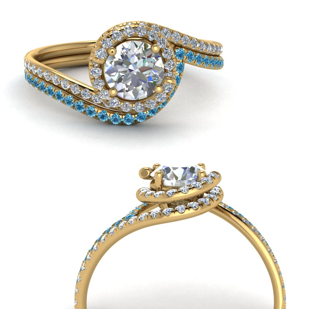 simple diamond halo swirl bridal set with blue topaz in FDENS1295ROGICBLTOANGLE3 NL YG GS.jpg