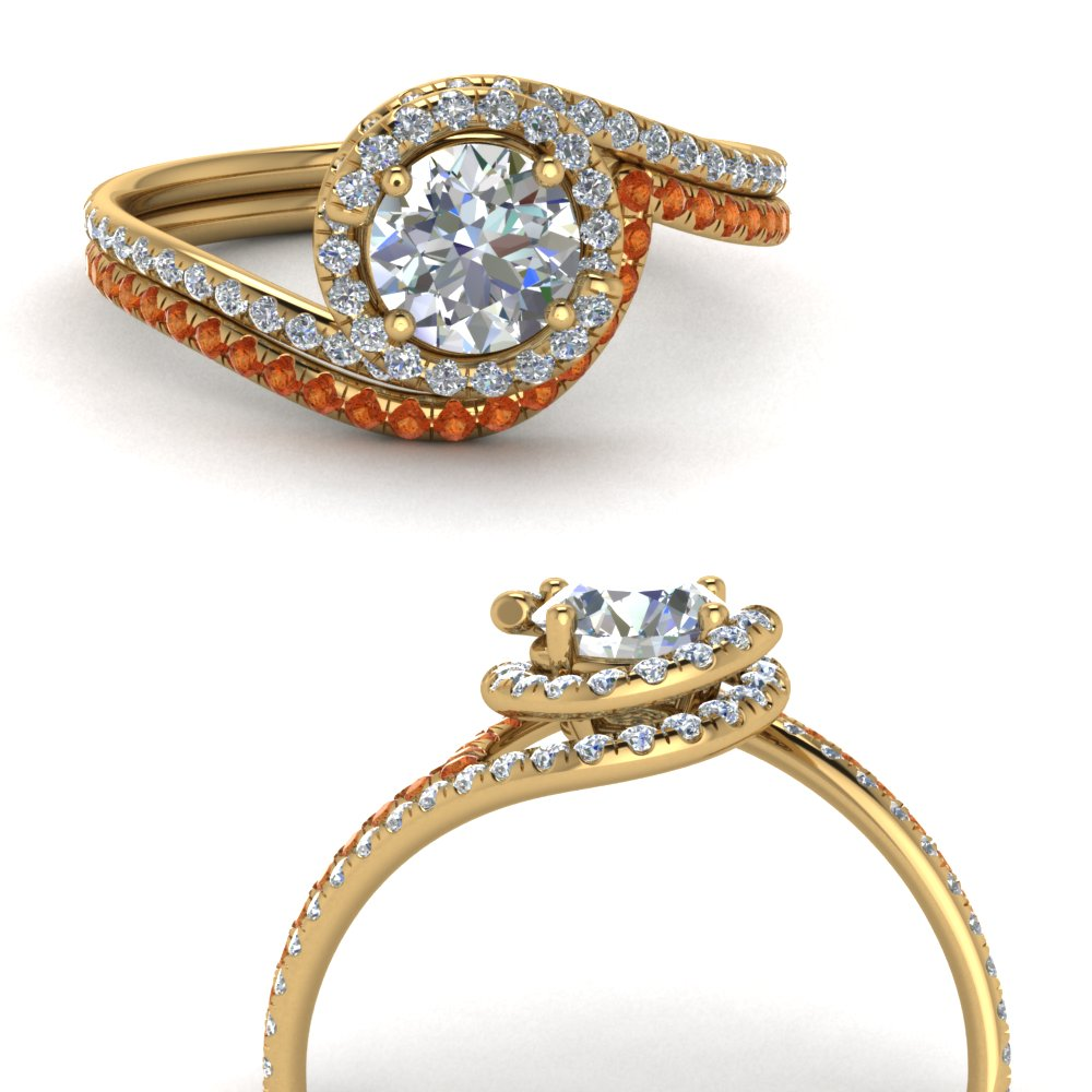 simple diamond halo swirl bridal set with orange sapphire in FDENS1295ROGSAORANGLE3 NL YG GS.jpg
