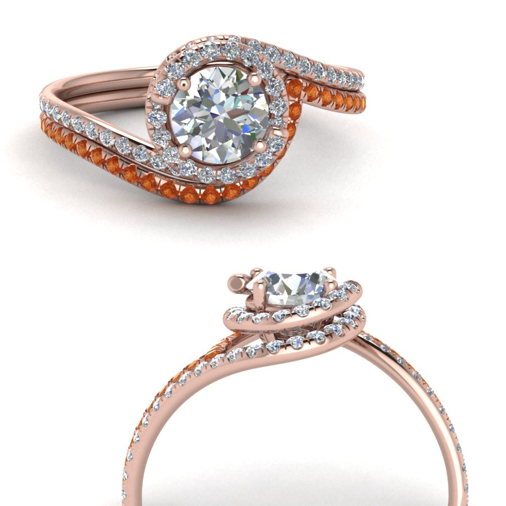 simple diamond halo swirl bridal set with orange sapphire in FDENS1295ROGSAORANGLE3 NL RG GS.jpg