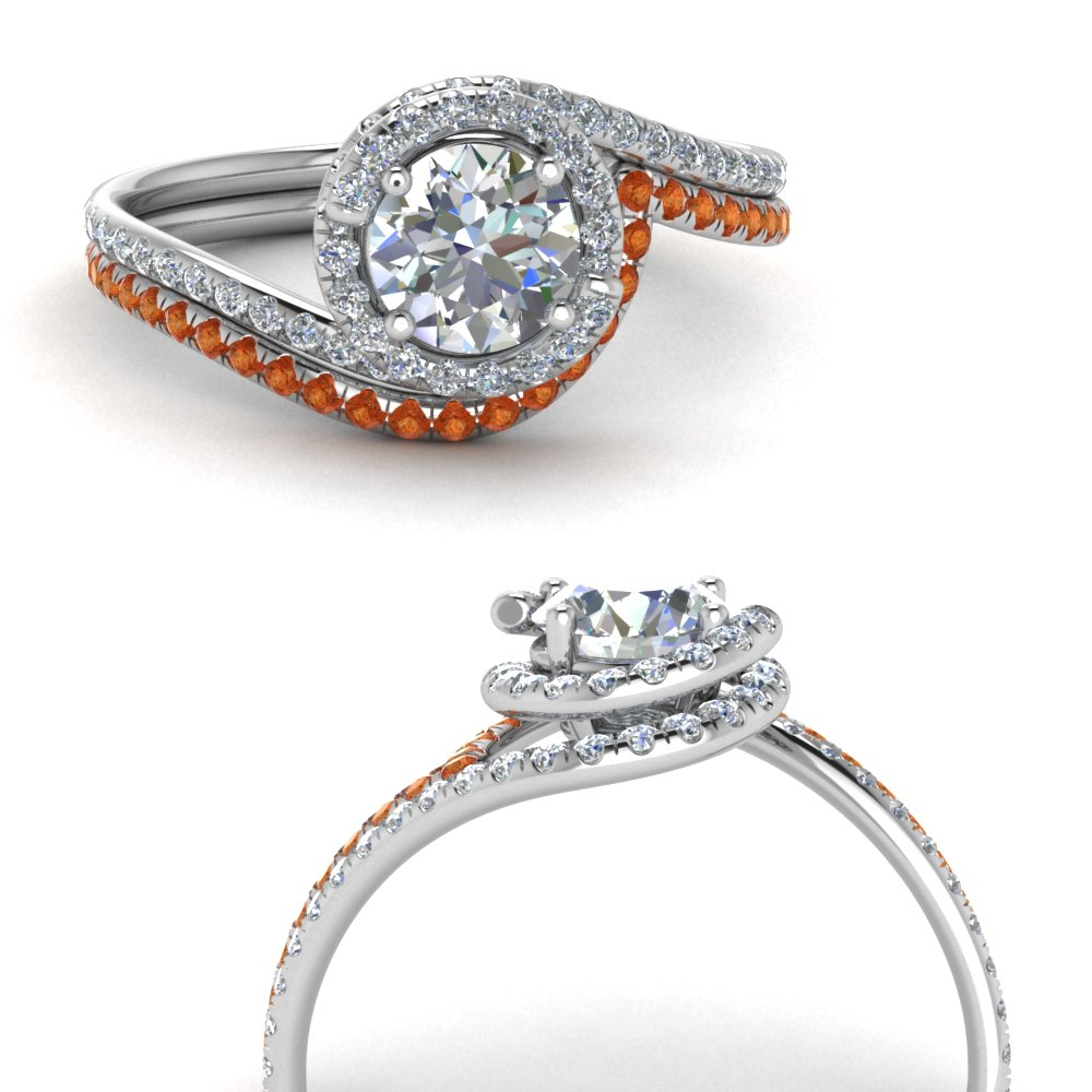 simple diamond halo swirl bridal set with orange sapphire in FDENS1295ROGSAORANGLE3 NL WG GS.jpg