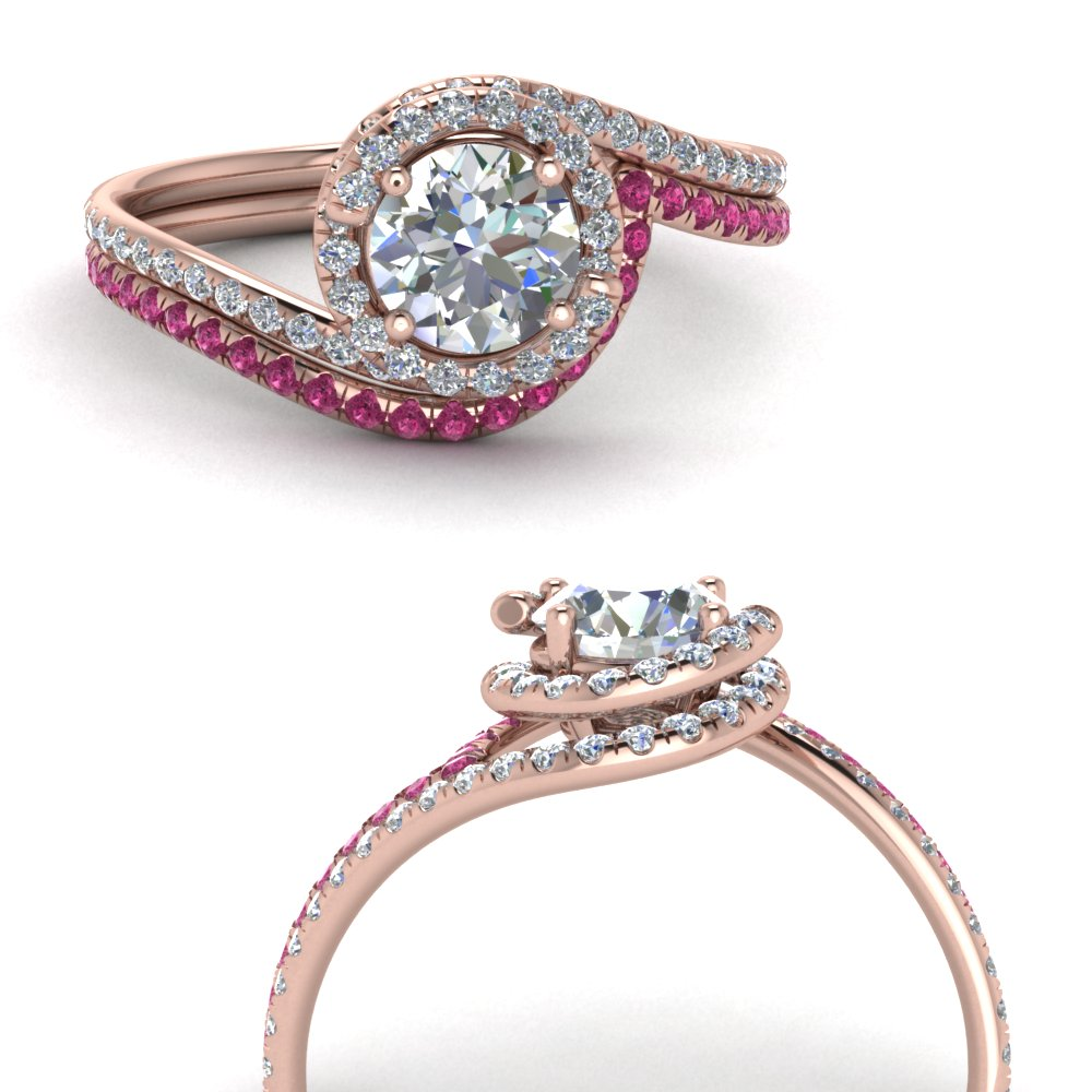 simple diamond halo swirl bridal set with pink sapphire in FDENS1295ROGSADRPIANGLE3 NL RG GS.jpg