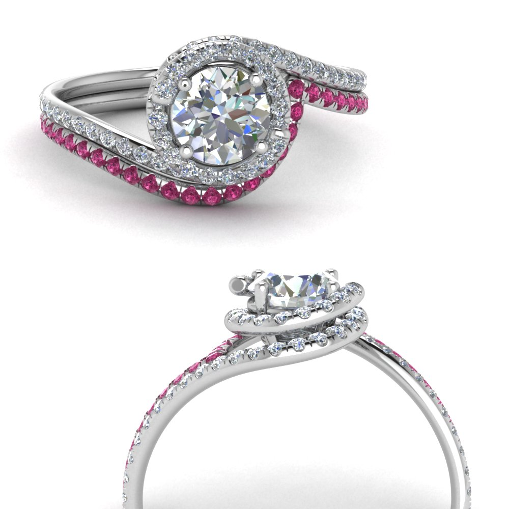 simple diamond halo swirl bridal set with pink sapphire in FDENS1295ROGSADRPIANGLE3 NL WG GS.jpg