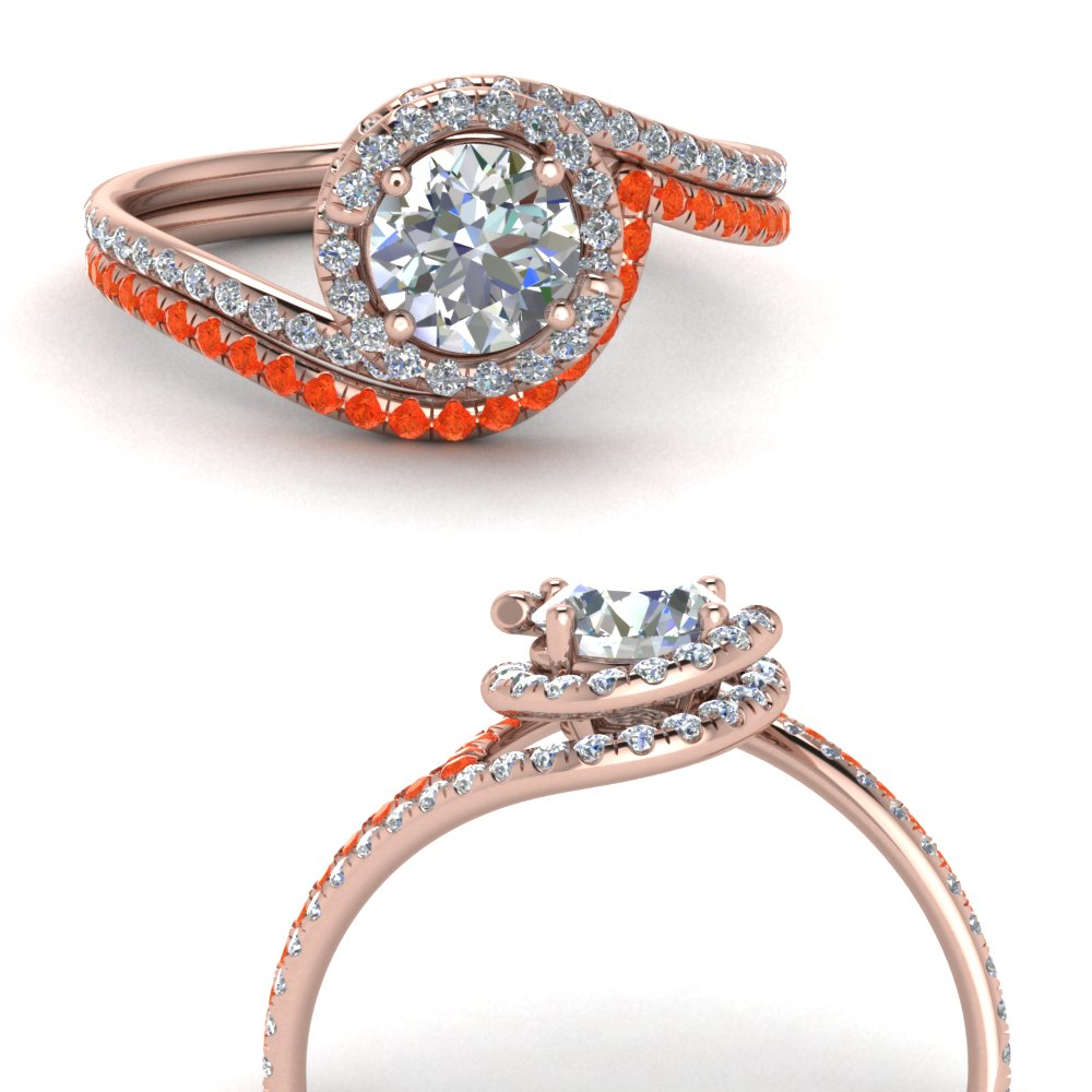 simple diamond halo swirl bridal set with orange topaz in FDENS1295ROGPOTOANGLE3 NL RG GS.jpg