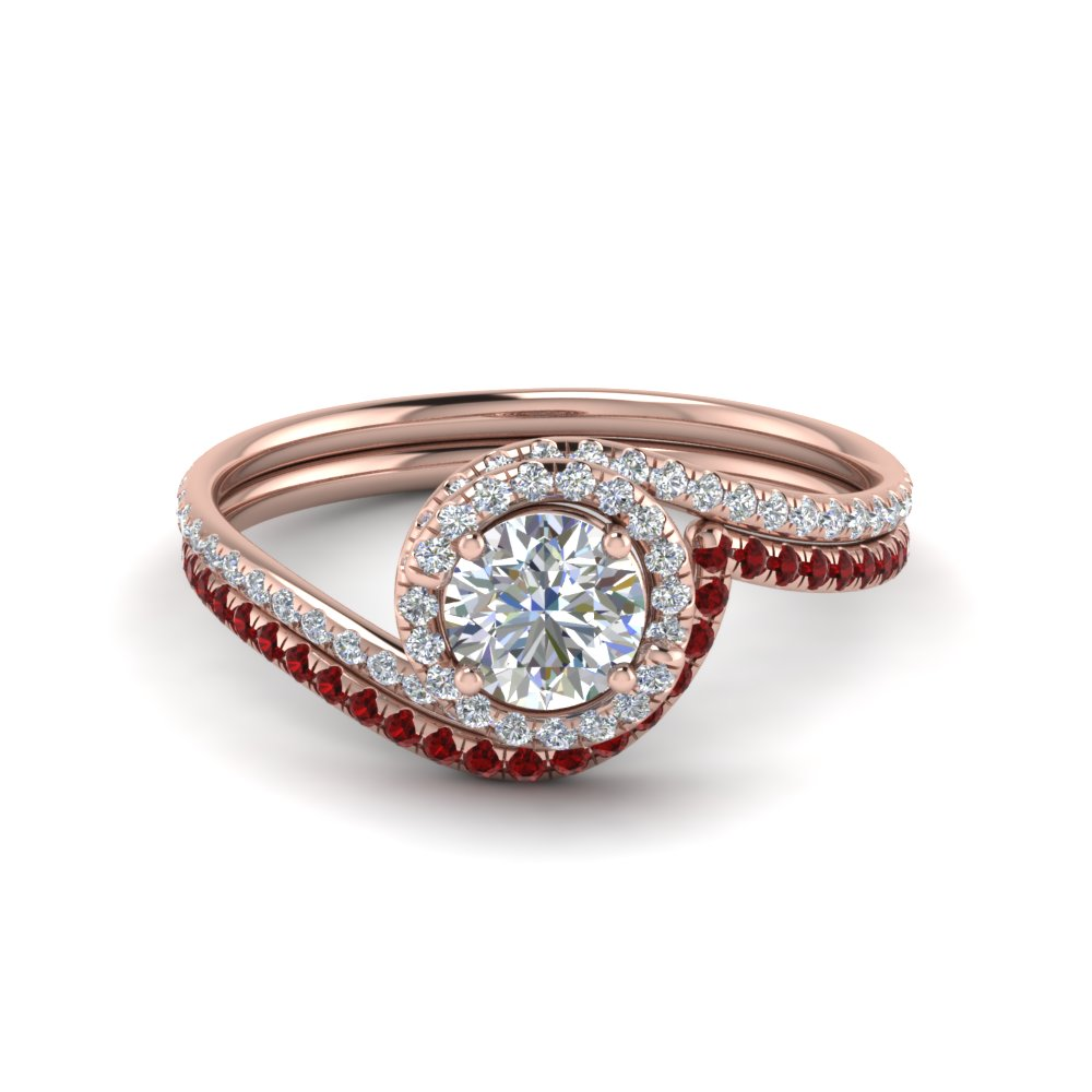 round cut diamond wedding ring sets with red ruby in 14k rose gold - Ruby Wedding Rings