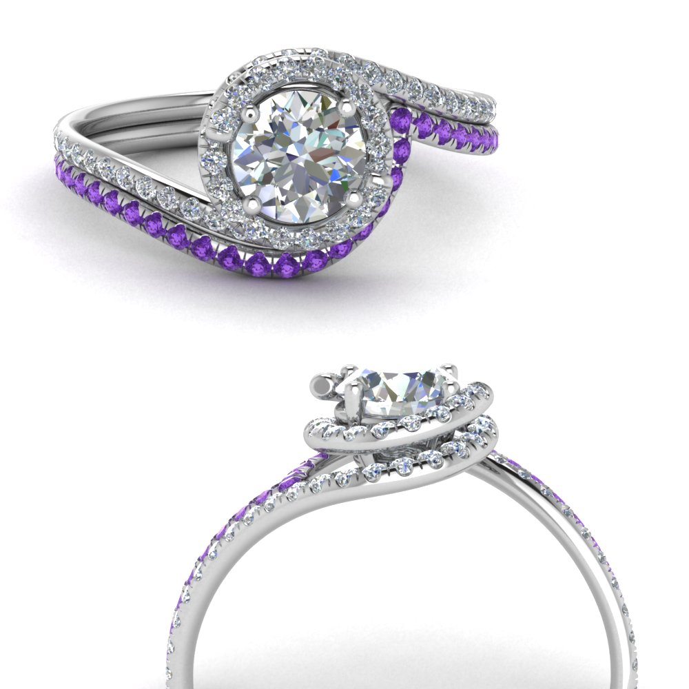simple diamond halo swirl bridal set with purple topaz in FDENS1295ROGVITOANGLE3 NL WG GS.jpg
