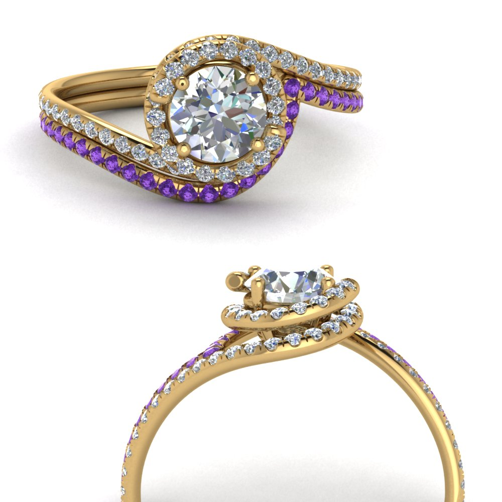 simple diamond halo swirl bridal set with purple topaz in FDENS1295ROGVITOANGLE3 NL YG GS.jpg
